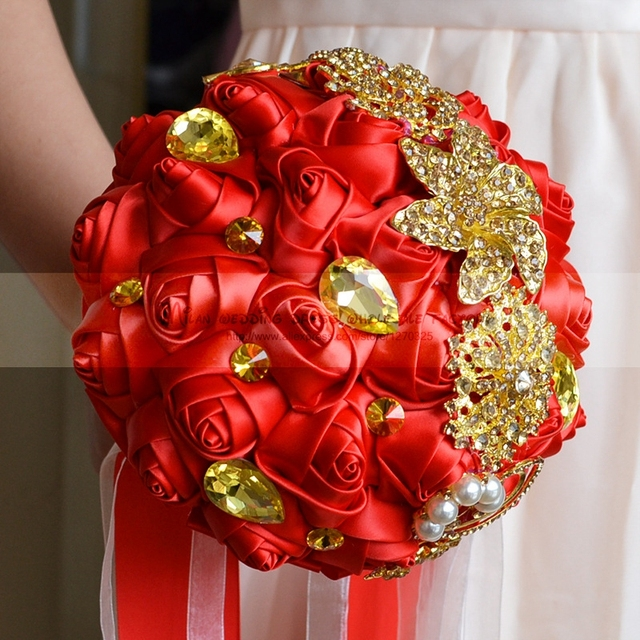 Wedding Flowers Bridal Bouquets 2018 New Accessories Gold Red White Pink