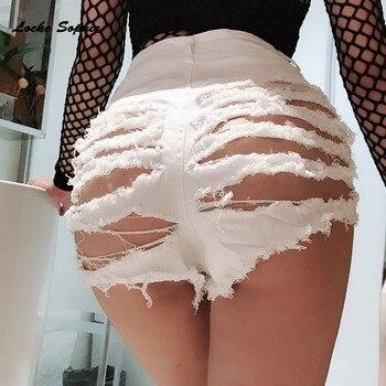 1pcs High waist Sexy Womens jeans denim shorts 2019 Summer Fashion Denim broken hole shorts Ladies Skinny super sexy short jeans 3