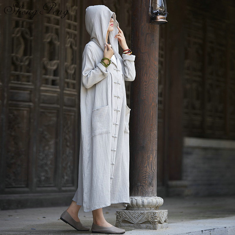 Meditation clothing ancient chinese costume traditional chinese clothing cotton and linen robe with hood CC096