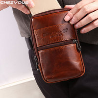 CHEZVOUS Cowhide Genuine Leather Belt Clip Pouch for iPhone X 8 7 6 Men's Waist Pack Retro Holster for iPhone 6 6s 7 8 plus Case