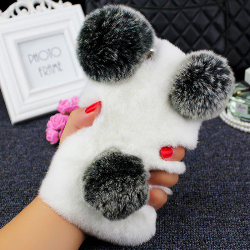 For Huawei P9 P10 selfie P smart Plus P20 Lite pro Honor 8 9 10 7X Cute Plush Rabbit Fur ball Panda ear tail Soft Phone case