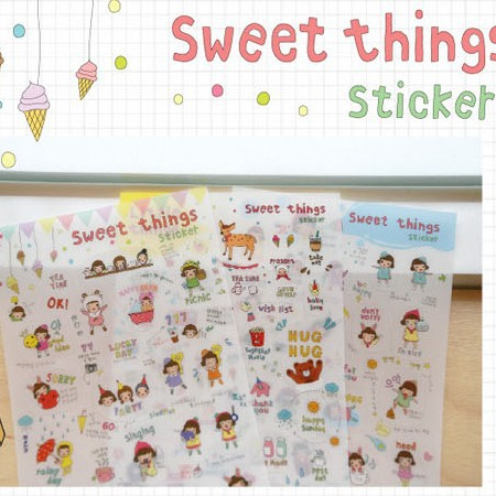 6 sheets/1lot Kawaii Planner Stickers Sweet things Transparent diary deco /sticky notes/ post it note