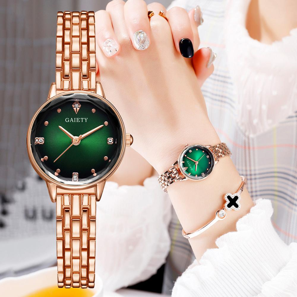 Luxury Bracelet Watches For Women Gradient Starry Sky Green Dial Design CasualLadies Crystal Dress Quartz Clock Relogio Feminino