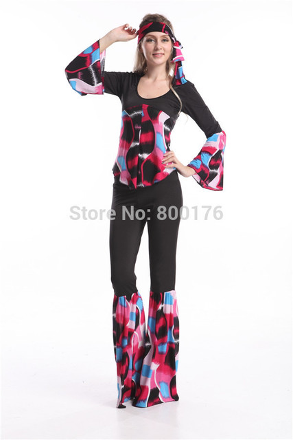 349b16255f Free shipping zy754 Ladies 60s 70s Retro Hippie Go Go Girl Disco Costume  Hens Party Fancy Dress walson women party costume