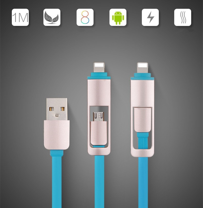10 Pieces 1m Retractable USB Data Cable For iPhone5 5s 6 7 And Android Quality Wire USB Connector Quick Charge 2 in 1  Anti-wrap