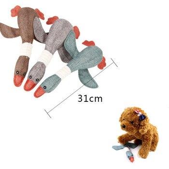 ANSINPARK gato perro de juguete animal relleno mordedura de ardilla tela de ganso salvaje juguete con chirrido j66