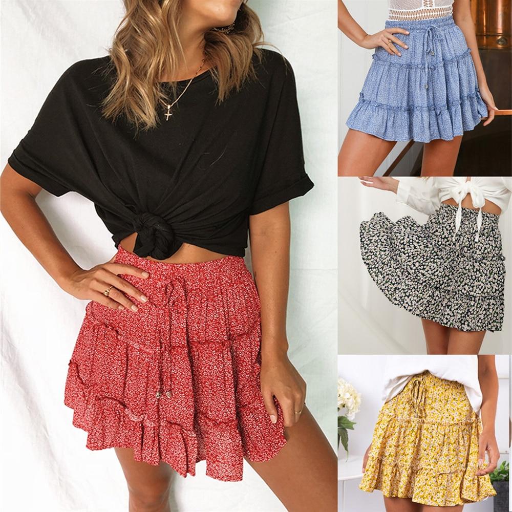 Skirt Flower Frills Printed Beach-A-Short Sexy High-Waist Fashion Women for Broken Half-Length
