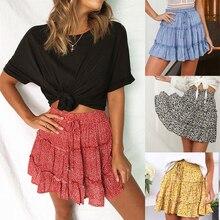 Сексуальная Женская модная юбка с оборками и высокой талией для женщин, юбка средней длины с цветочным рисунком, пляжные короткие мини юбки, новинка