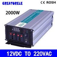 P2000 122 12 v на 220 v солнечных инвертор чистого синуса инвертирующий усилитель мощности 2000 w преобразователь напряжения светодиодный Дисплей