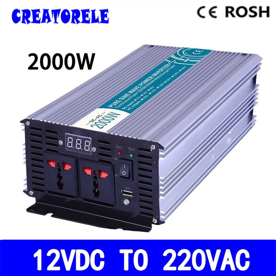 цена на P2000-122 12v to 220v solar inverter pure sine powerr inverter 2000w voltage converter LED Display