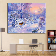 DIY Kits Coloring Painting By Numbers Paint Modern Deer Snowfield Landscape Home Decorative Wall Art Picture Gift Modular Framed(China)