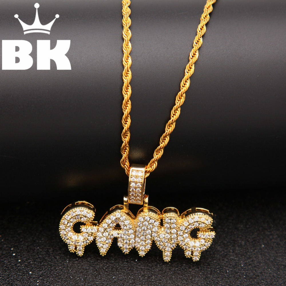 THE BLING KING Custom bubble Initial letters CZ Pendant Necklace Hip Hop Full Iced Out Cubic Zirconia gold sliver CZ StoneTHE BLING KING Custom bubble Initial letters CZ Pendant Necklace Hip Hop Full Iced Out Cubic Zirconia gold sliver CZ Stone