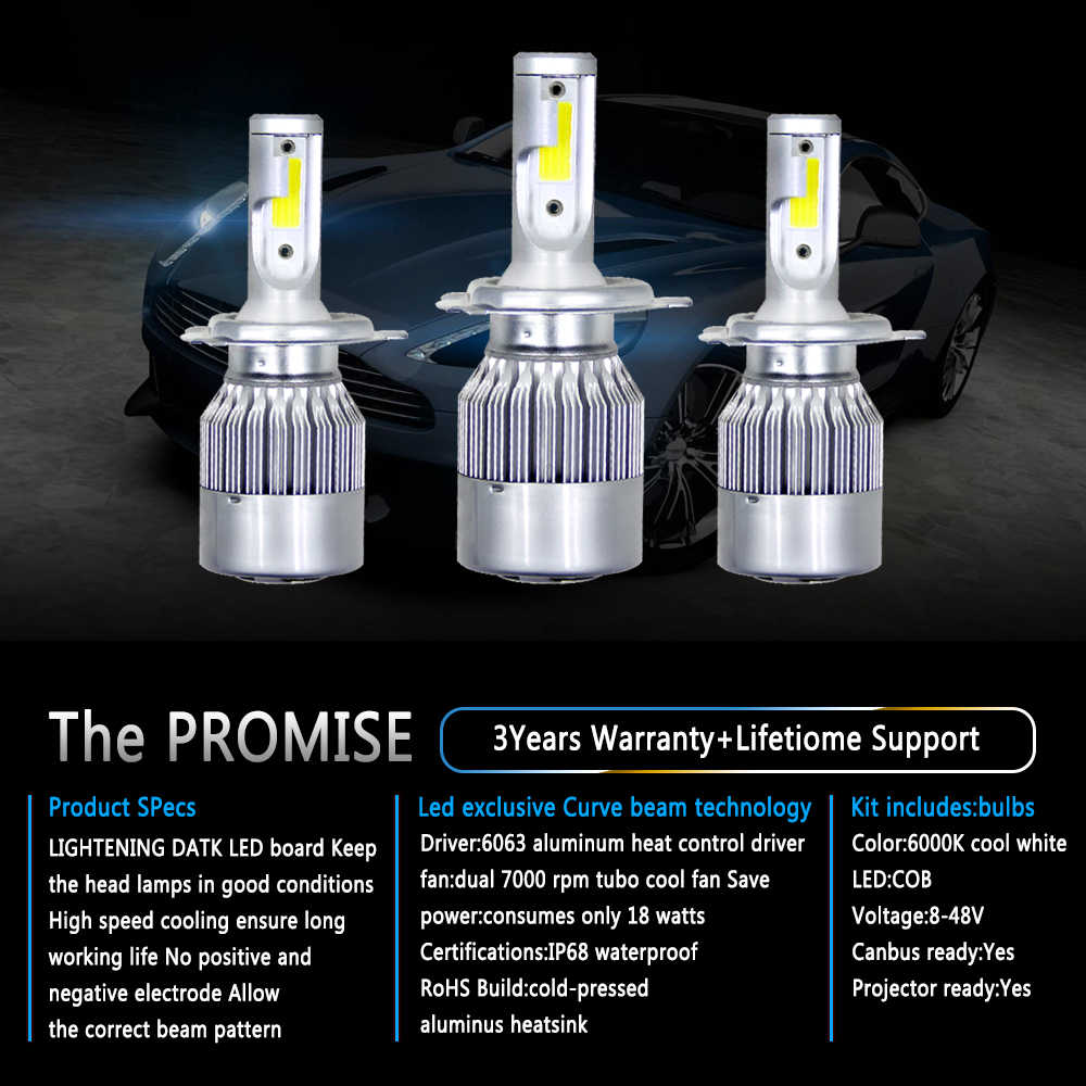 Auto Bulbs LED H7 H4 H11 H1 H3 H13 880 9004 9005 9006 9007 9003 HB1 HB2 HB3 HB4 H27 Cae Led Headlight Bulb Kit Fog Light 6500k