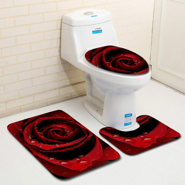 The 3 sets bathroom carpet mat and Toilet seat cover with Rose petal 50*80cm WC Non-slip mat and Toilet seat cover bath mat