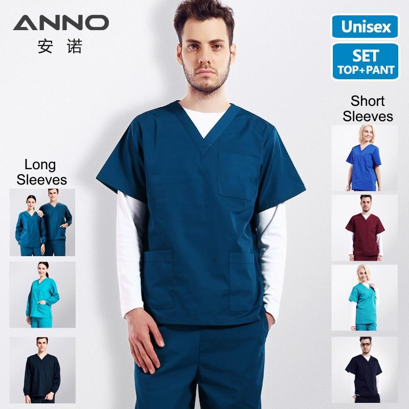ANNO Hospital Medical Scrubs Set Nursing Uniform Clothing Beauty Salon Uniforms Nurse Scrub Shirt Plant Surgical Clothing