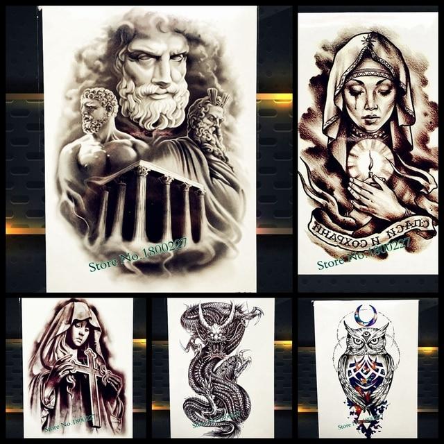 Alexandria Temporary Tattoo Stickers God Fake Flash Waterproof Fake Flash Tattoo MEn Body Art Arm 21x15CM Power Tatoo Justice