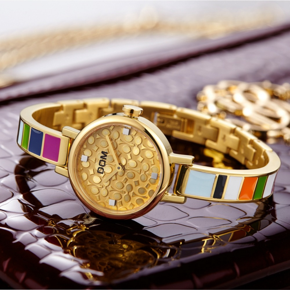 DOM Women's Bracelet Watches Quartz Wrist Watch Retro Rainbow Design Casual Ladies Dress Sport Watches Women Relogio Feminino стоимость