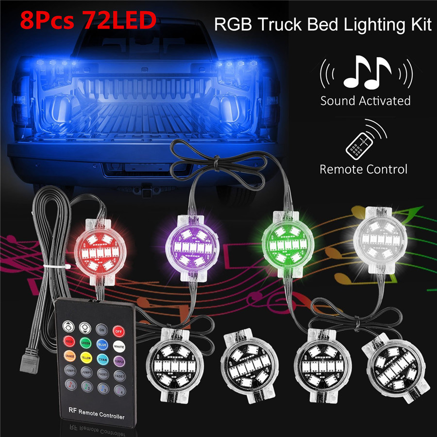 RGB Multi Color Super Bright Work Light 8pcs LED Truck Bed Lights Kit with Wireless Controller IP67 RF Remote