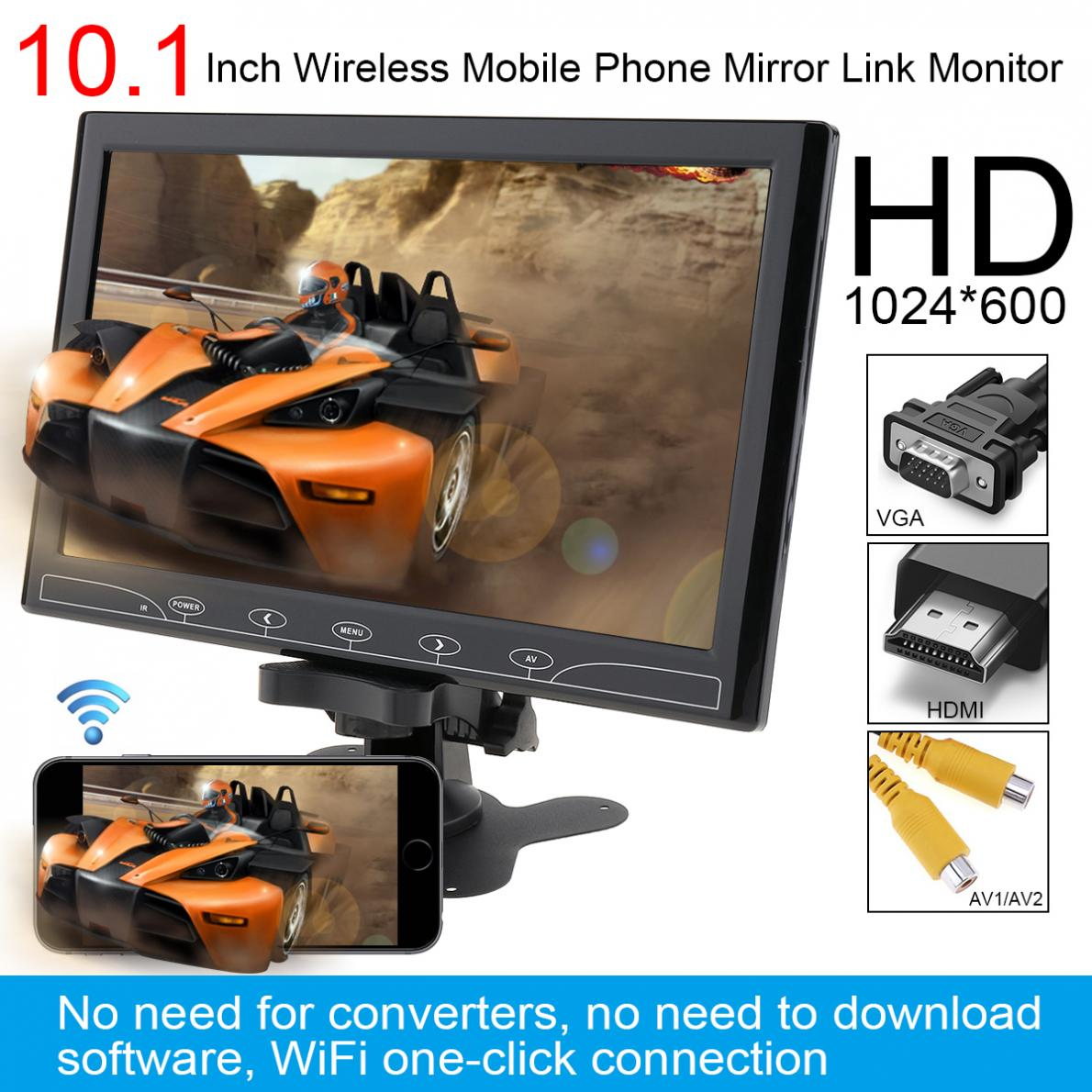 10.1 Inch Black HD IPS 1024*600 TFT LCD Car Headrest Monitor support HDMI/VGA/AV/Wireless Mobile Phone Mirror Link