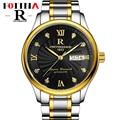 Fotina Top Brand R Reloj de Los Hombres de Negocios de Oro Negro Relojes Hombres Llenos de Acero Inoxidable Día Fecha Deportes Reloj de Pulsera Relogio masculino