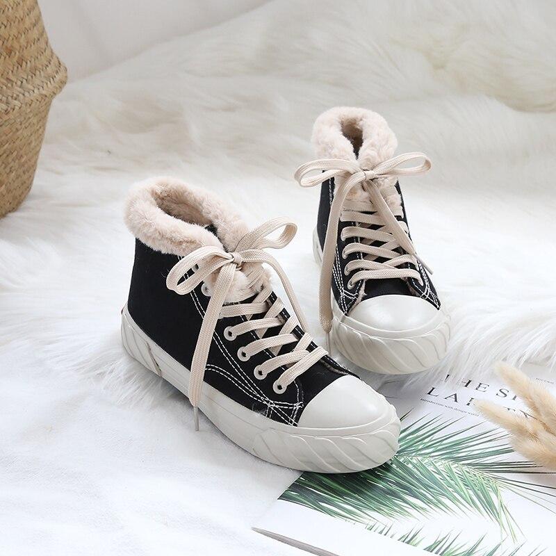 Mujer Moda Botas Tobillo Nieve white Calientes De Planas Al Black Para xUxwIp1Sq