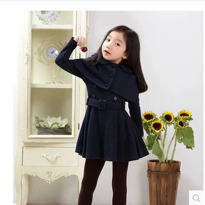 2016 Autumn Little gentlewoman Knitted Full Sleeve Solid Wind coat - Children's Clothing - Photo 4