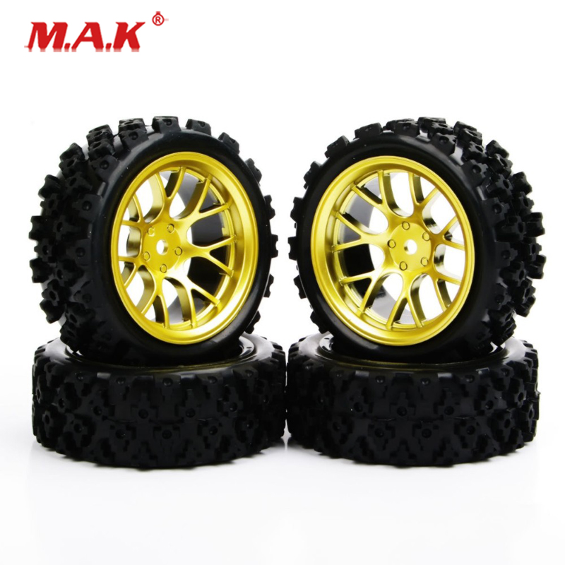 4Pcs/Set 1:10 Rubber Rally Tires And Wheel Rim With 6mm Offset And 12mm Hex Fit Racing Off Road Car PP0487 Accessories