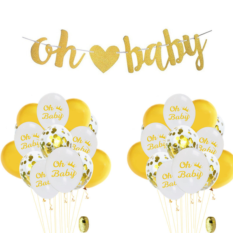 Taoqueen Cartoon Hat Baby Shower Decorations Neutral Decor Strung Banner  Balloons W/ Ribbon Gold Confetti  Set Hat