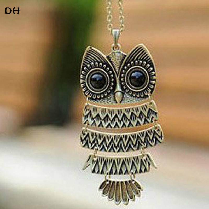 product 2016 New Fashion Hot-Selling Korea Adorn Article Ancient Bronze Owl NecklaceAncient The Owl Sweater Chain 66N1177