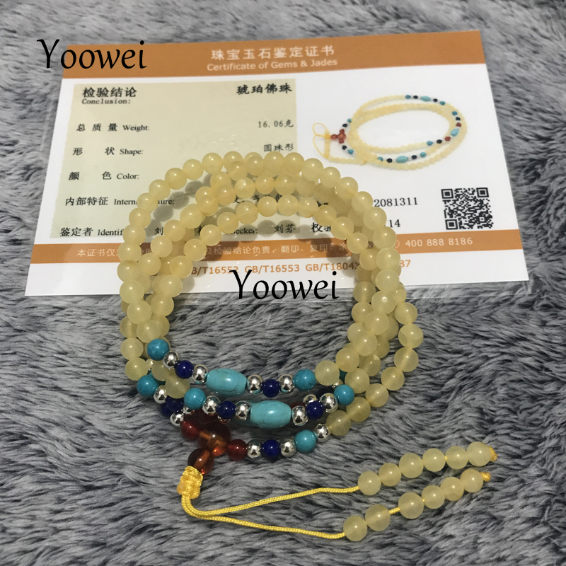 Yoowei 108 Amber Bracelets 4.5mm Baltic Natural Amber Beads Prayer Buddhist Jewelry Rosary Mala Prayer Bracelet for Meditation aaa 4mm natural olivine beaded bracelet tibetan buddhist prayer beads necklace gourd mala prayer bracelet for meditation