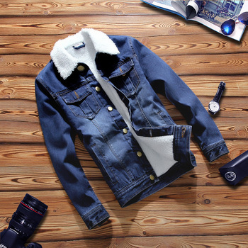 New Thick Warm Jeans Jacket Men Good Quality Slim Turn Down Collar Jaqueta Jeans Masculino
