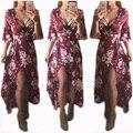 Summer Women Dress Red Floral Print Loose Dresses Half Sleeve V Neck Sexy Dress Bohemian Chiffon Dress Long Beach Dress Femme