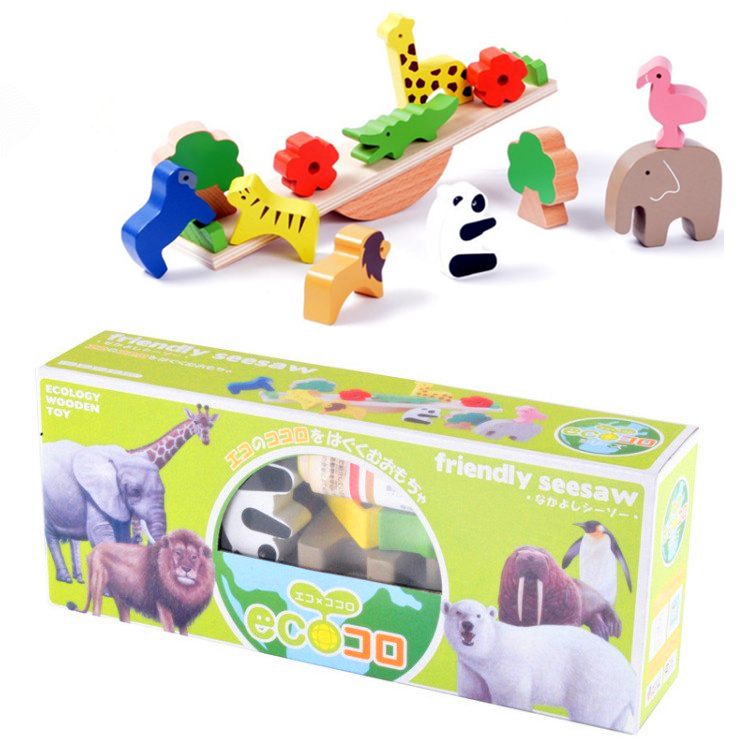ФОТО candice guo! Montessori ecology wooden toy baby gift animal block friendly seesaw balance set