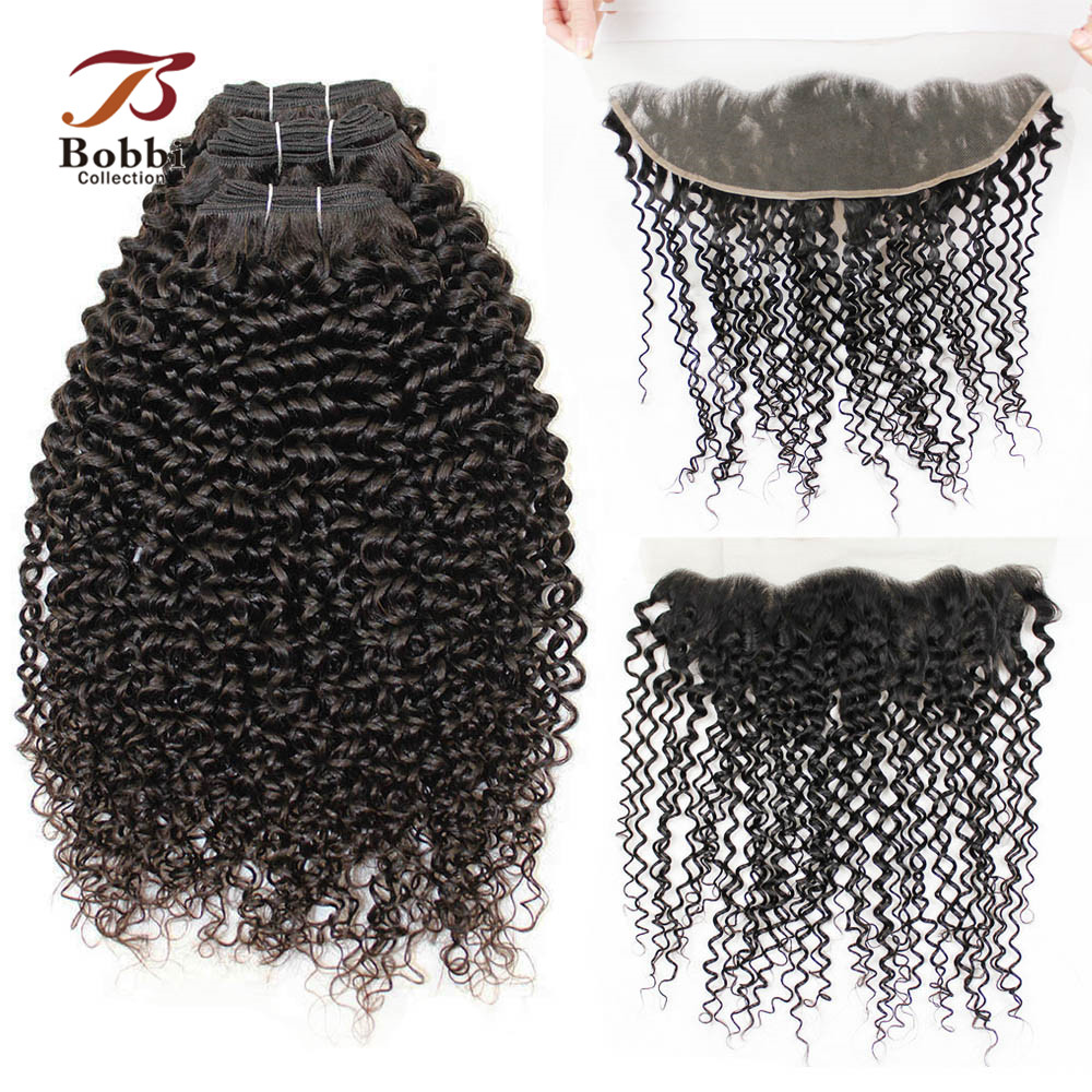BOBBI COLLECTION Brazilian Hair Jerry Curly Remy Human Hair Weave 2 3 Bundles With Frontal 4x13