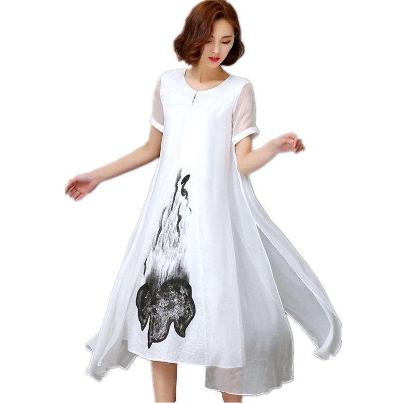 5fba449da Vestido Elegante Vintage Ropa 4xl Impresión Black Moda Mujer Primavera  Irregular Vestidos Largo Blanco De Verano ...
