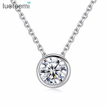 LUOTEEMI Hot Selling Tiny 1 Carat Round Cubic Zirconia Solitaire Pendant Necklace For Women Fashion Jewellery Gift