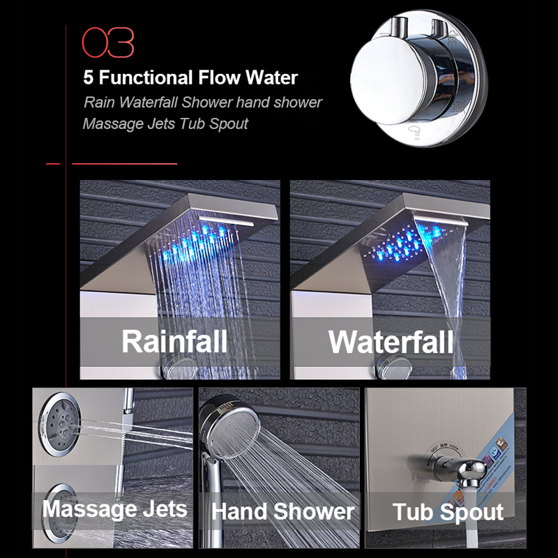 quyanre wanfan frap black led shower panel shower column rainfall waterfall shower head 4 mist spa jets 3 handles mixer tap tub spout bath shower4