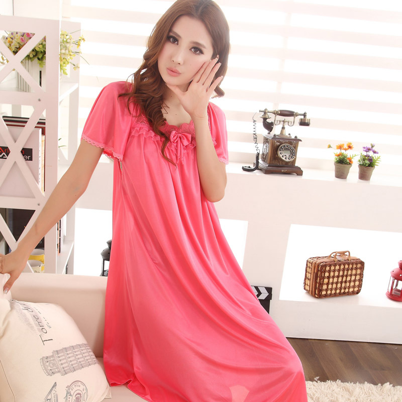 Kedatangan baru! Stylish short sleeved long section of lace nightgown ladies   e2776cb72
