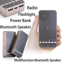 5 in 1 Outdoor Bluetooth Speaker Portable Subwoofer Power Bank LED Flashlight FM radio Music Sound Box Redner for Xiaomi iPhone