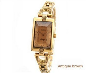 free shipping 2013 famous korea brand gold woman bracelet square watch with crystal stainless steel strap japanese movement