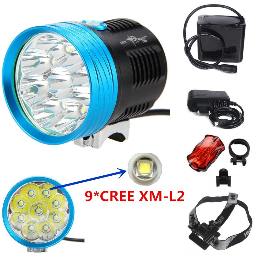 18000 lumen 9L2 Cycling mountain bike front light 9xcree xm-l l2 led bicycle helmet headlamp+18650 12000mah battery pack+Charger 15000 lumen 9x cree xm l2 led 5modes cycling head front bicycle light bike lamp headlamp 4x18650 battery pack charger