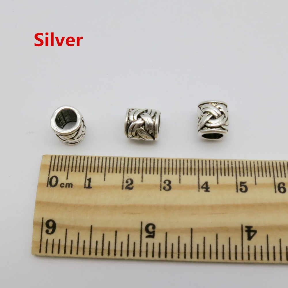 5 шт.-10 шт. металлические бронзовые/серебряные руны Викинги волосы оплетка dread борода дредлок бусины кольца трубки аксессуары около 5,2 мм отверстие