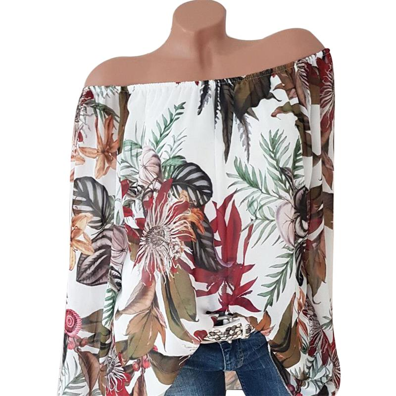 Off Shoulder Womens Tops And Blouses Flower Printed Fashion Shirts Long Sleeve Vintage Ladies Plus Size 2018 Boho Blusa Feminina 2