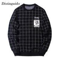 2018 Men S O Neck Collar Long Sleeves Casual Print Plaid Black Hoodie Spring Autumn Outwear