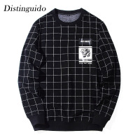 2018 Men S O Neck Collar Long Sleeves Casual Print Plaid Black Hoodie Spring Autumn Outwear