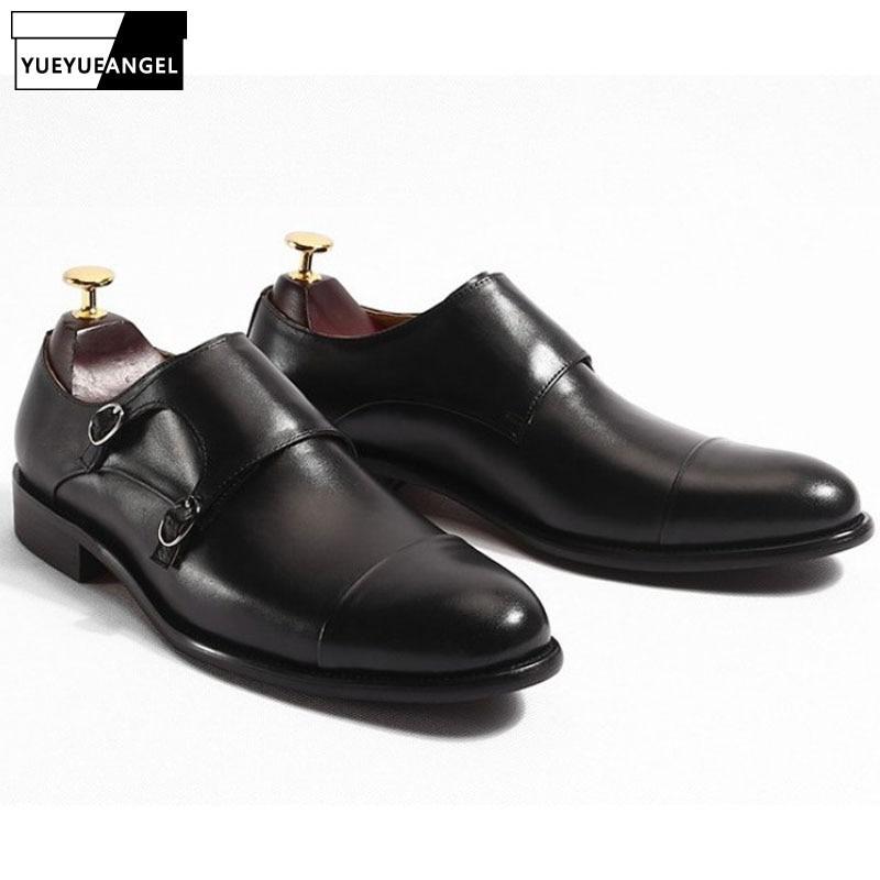 Boucle Italien Mâle Black Cuir Sangles Chaussures De Mocassins Double Vintage Véritable En Homme D'affaires Habillées Moine Marque Mariage SCSqB8xr