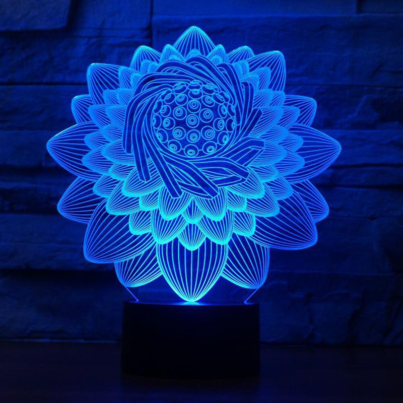 3D Lotus Flower Shape Table Lamp 7 Colors LED Touch Swithc Floral NightLight USB Sleep Lighting Lampara Kids Gifts Bedroom Decor wine cup bottle modelling 3d table lamp led 7 colorful acrylic night light xmas kids gifts sleep lighting bedroom bedside decor
