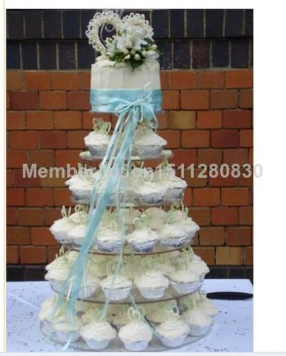 Изысканный Прозрачный акриловый торт башня/6 уровня круг круглые стержни yakeli кексы качество товаров Доставка в сумке Акриловые Кекс Стенд