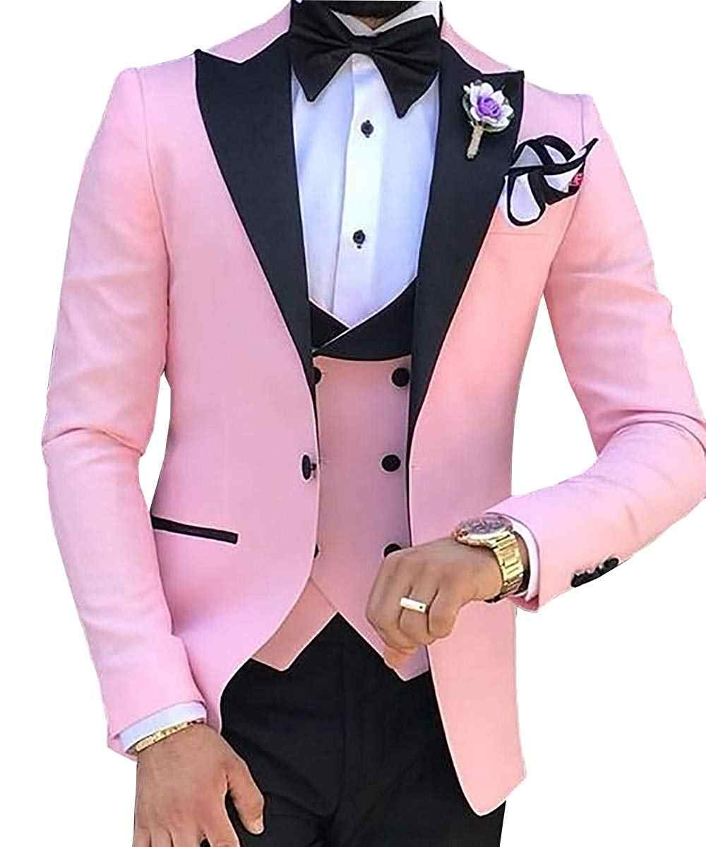 TPSAADE Mens's 3 Pieces Suits for Men Custom Made Terno Slim Groom Custom  Wedding Men Suit Masculino (Jacket+Pant+Vest+Tiebow)