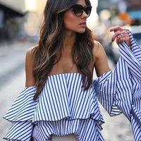 Off Shoulder Ruffles Striped Blouse 2017 Summer Sexy Long Sleeve Tops And Blouses Casual Slash Neck